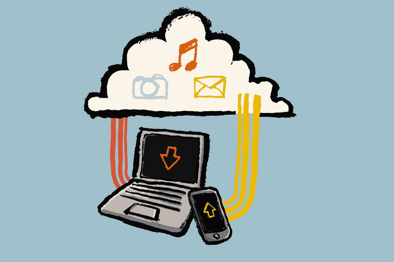 Illustration of technologies and cloud with multimedia symbols against blue background