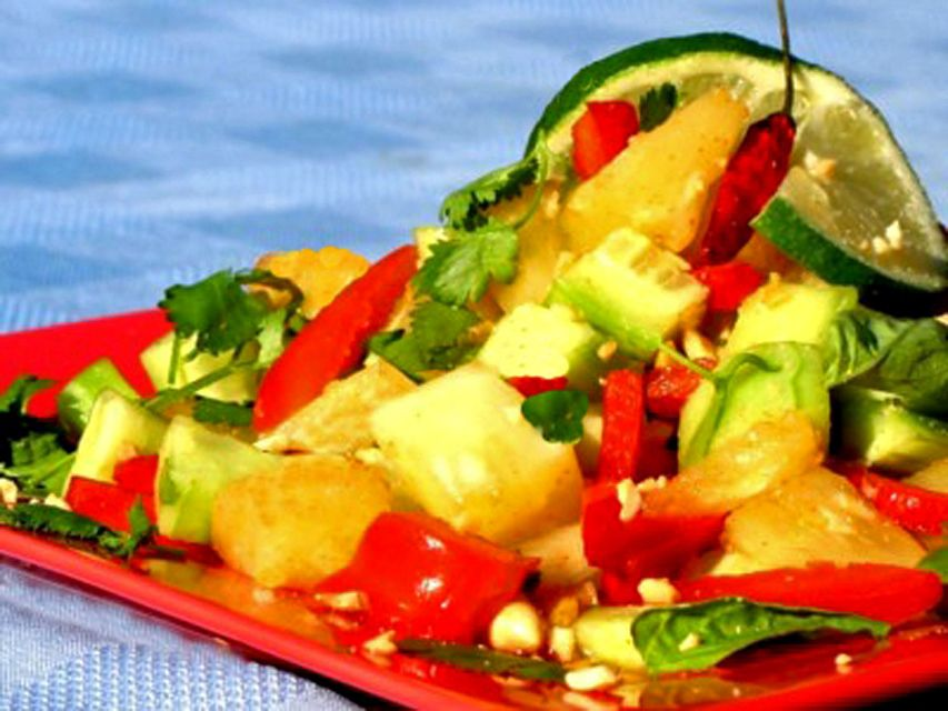 Thai Summer Salad with Fresh Cucumber, Pineapple, Red Pepper and Peanuts