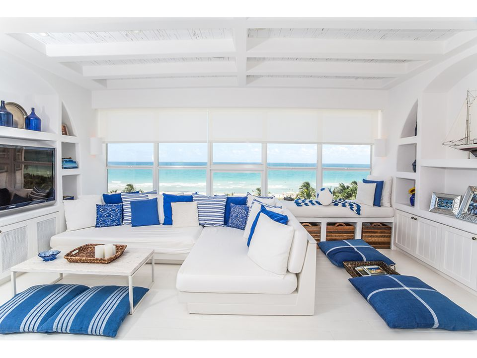 beach living room design. Cool and Crisp Living Room  Miami beach condo MRA Design 20 Beautiful Beach House Ideas