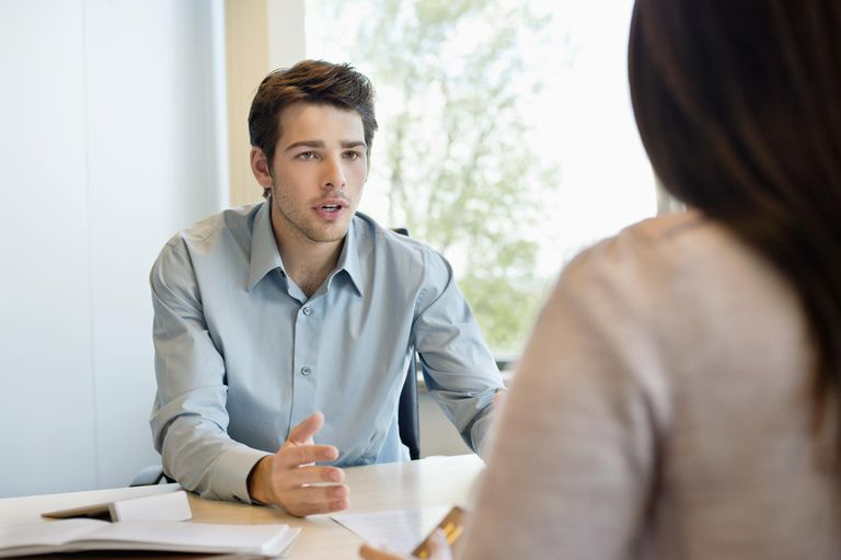 Business executive discussing with his client