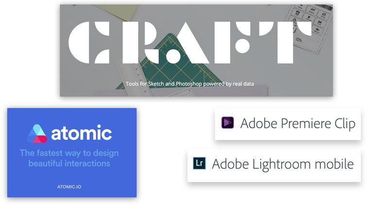 The Invision, atomic.io ,Adobe Clip and Adobe Lightroom mobile logos are shown.
