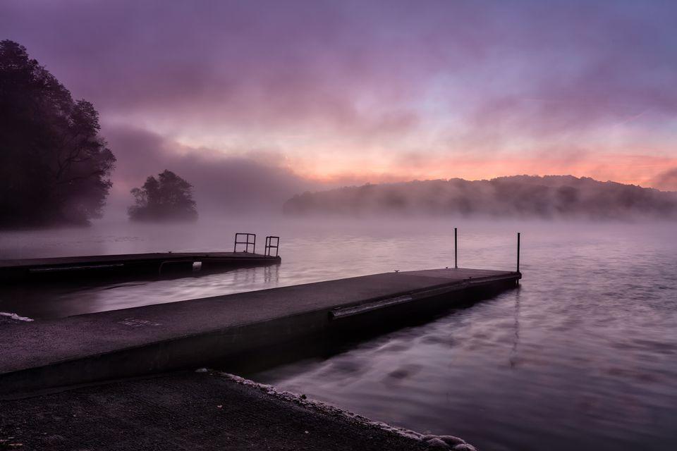 Foggy sunrise at boat launch