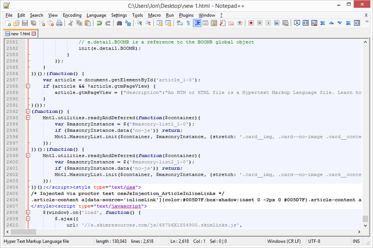 Screenshot of Notepad++ in Windows 8