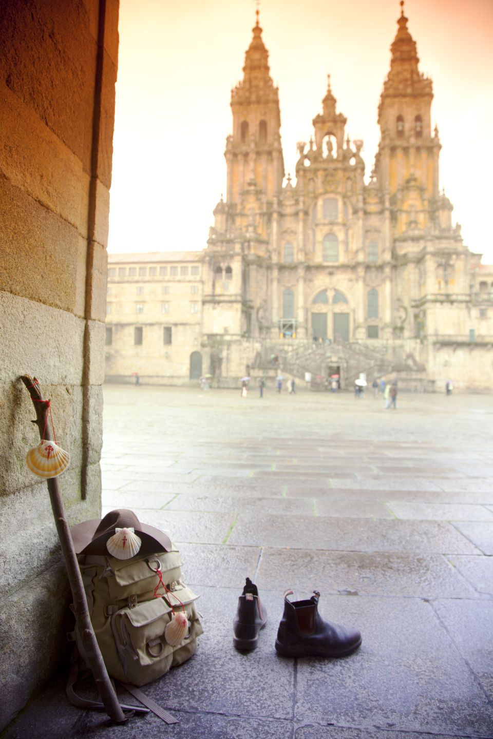 Santiago de Compostella, Pilgrim' s rucksack, boots, walking stick and hat with shells, symbols of Camino di Santiago