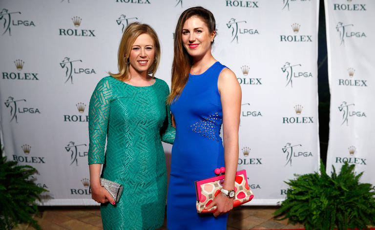Sandra Gal (right) and Morgan Pressel pose on the red carpet during the Rolex Player Awards ceremony in 2014