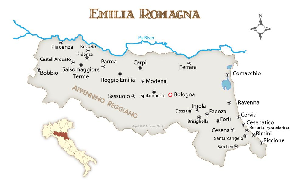 Emilia Romagna Cities Map and Travel Guide, Northern Italy