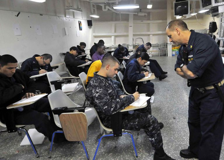 ATLANTIC OCEAN (April 18, 2011) Sailors aboard the multipurpose amphibious assault ship USS Bataan (LHD 5) attend an Armed Services Vocational Battery (ASVAB) preparation course. The three-week course, taught by volunteer service members, is designed to improve ASVAB scores to maximize rating conversion options in the Perform-to-Serve program. Bataan is deploying to the Mediterranean Sea. (U.S. Navy photo by Mass Communication Specialist Seaman Tamekia Perdue/Released)
