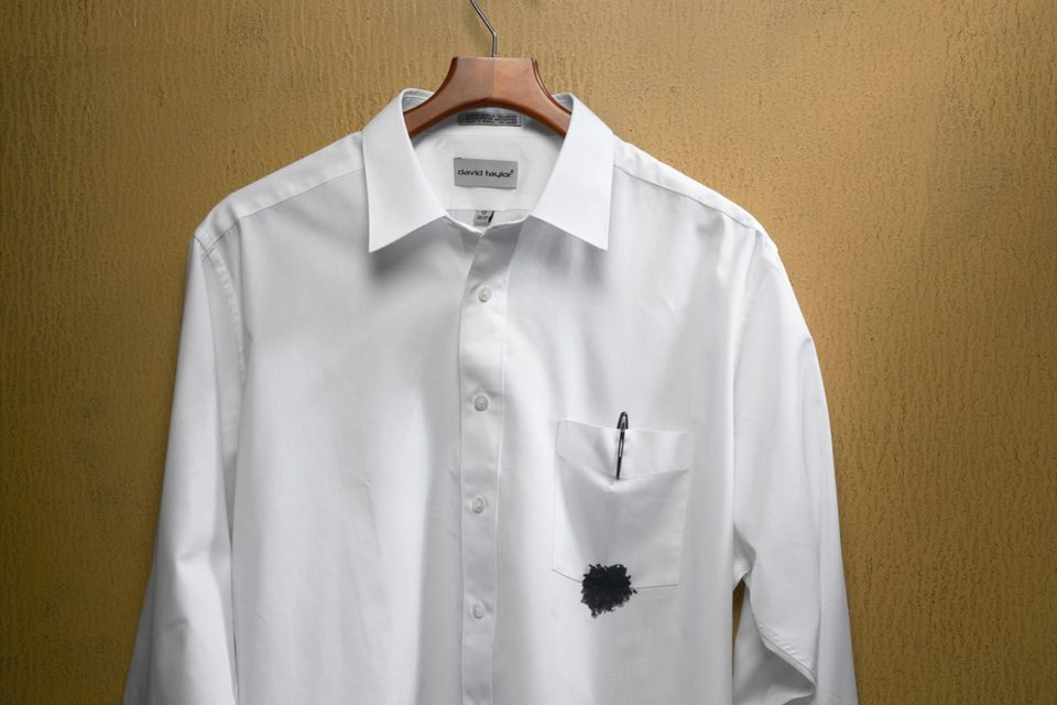 Shirt With Ink Stain on Pocket