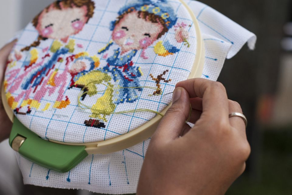 Waste Canvas cross stitch