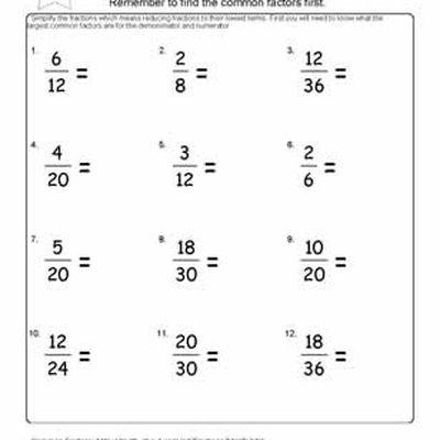 Fraction Worksheets and Ratio Homework