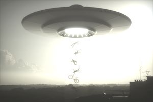 Alien abduction insurance conceptual people being abducted by aliens