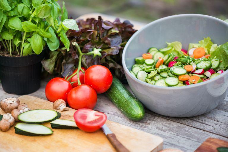 Fresh Vegetable On Vintage Garden Table