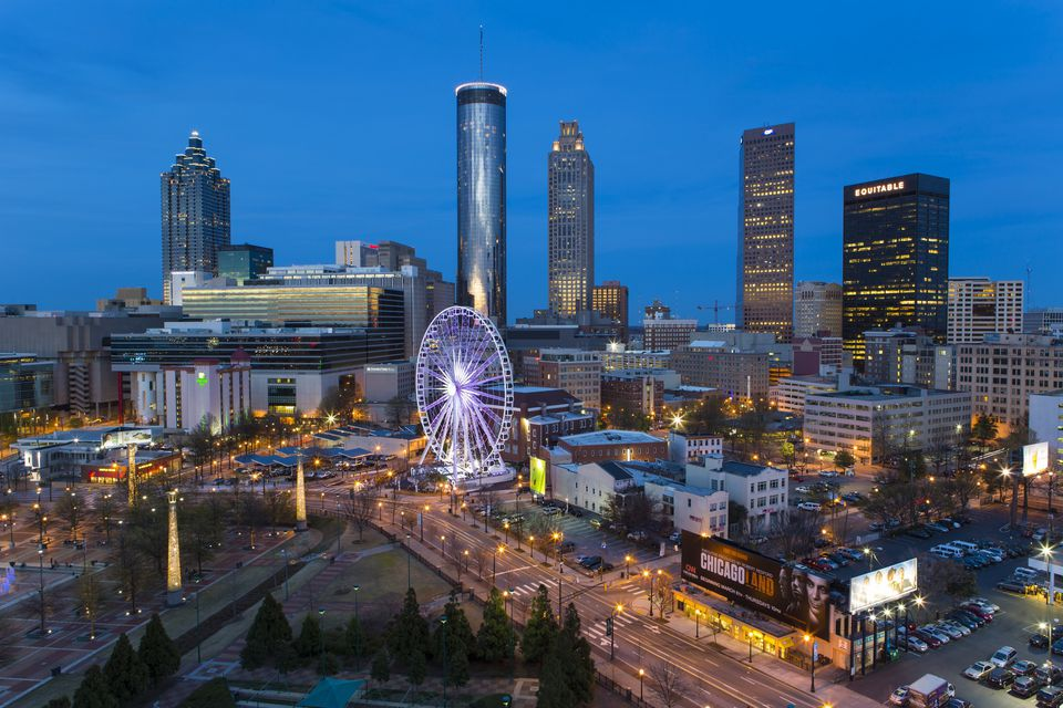 Elevated view over Downtown Atlanta and Centennial Olympic Park