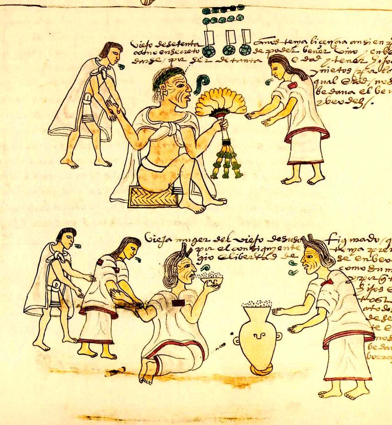 Pulque Drinkers from the Codex Mendoza