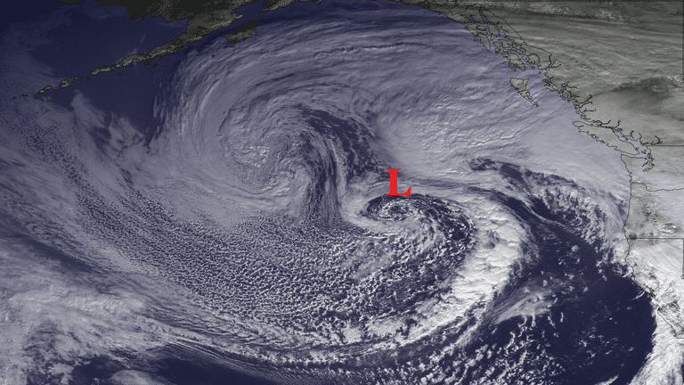 A deep low circulation brings heavy rains to the West Coast (Nov 28, 2012)