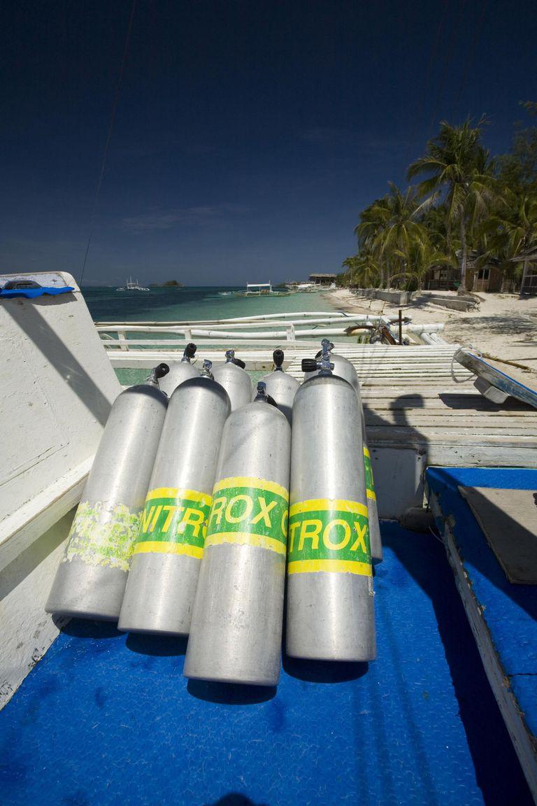Nitrox tanks on diving boat, Island Malapascua, Cebu, Philipines
