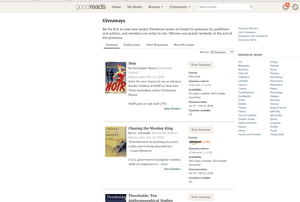 Screenshot of Goodreads' Giveaway Page