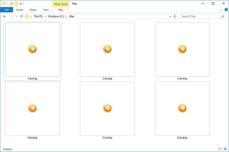 Screenshot of several DVDRIP files in Windows 10 that open with Full Player