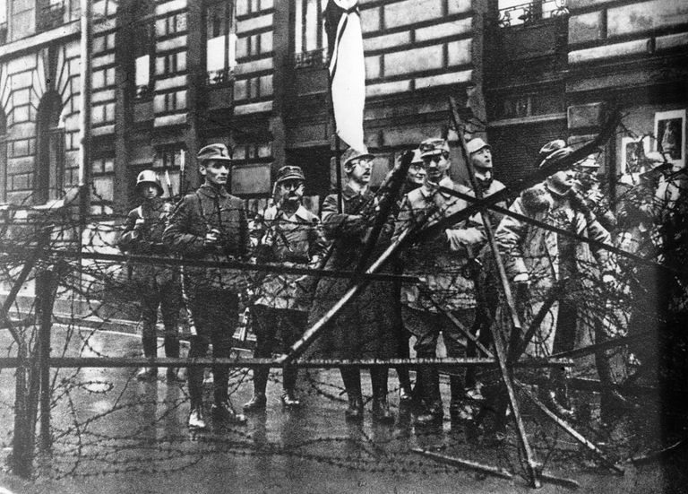 A picture of Heinrich Himmler holding a flag during the failed Beer Hall Putsch.