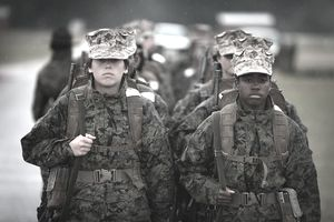 Woman soldiers in bootcamp