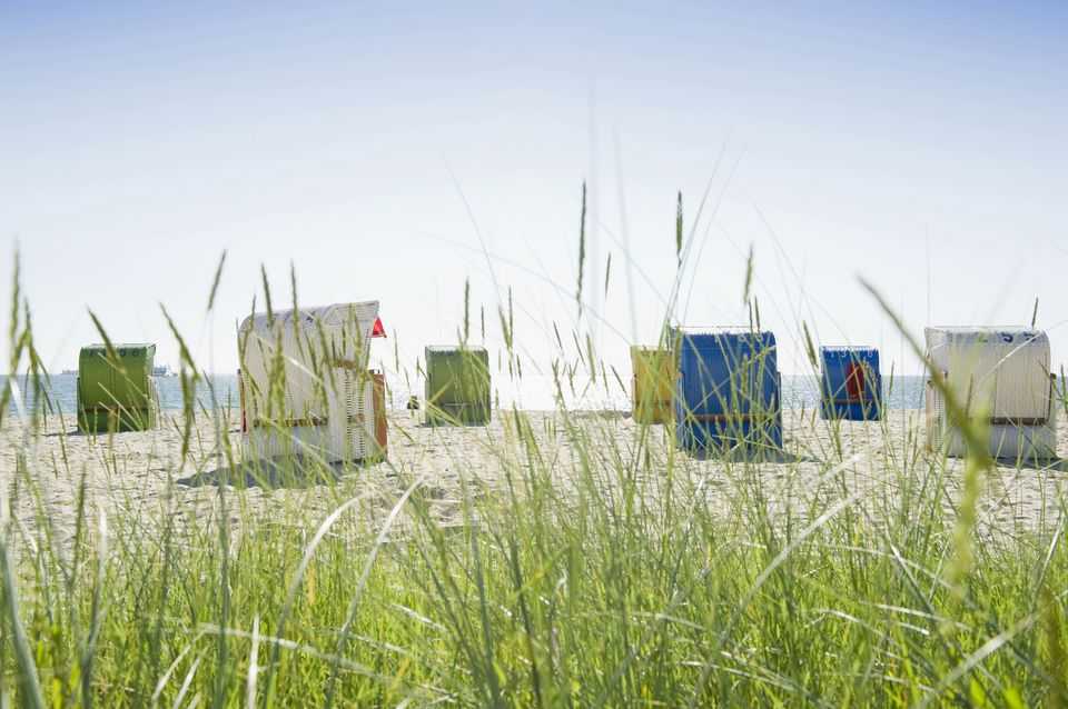 Beach grass and beachchairs on a beach in Germany