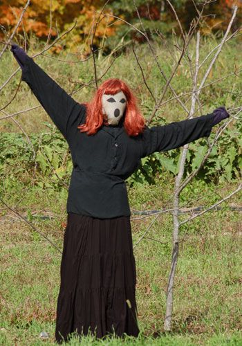 Picture showing witch scarecrow with wig. Witch scarecrow with wig nice change from pointy hat.