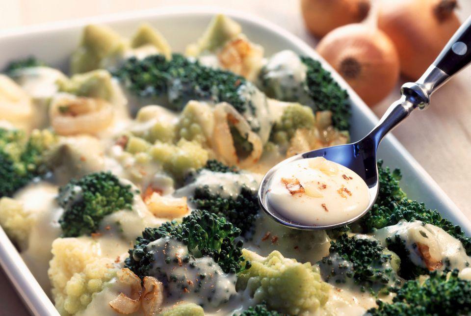 Broccoli and Roman cauliflower with soubise sauce