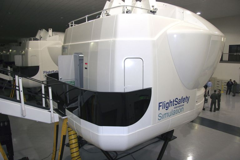 The TH-1H Weapons System Trainer full motion flight simulators.