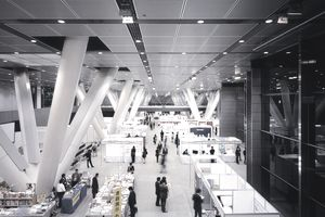 Trade fair inside the Tokyo International Forum.