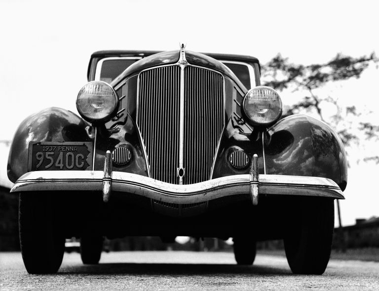Close-up of front end of 1936 Ford V-8