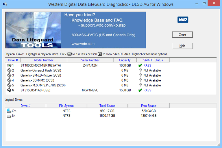 Screenshot of Western Digital Data LifeGuard Diagnostic for Windows