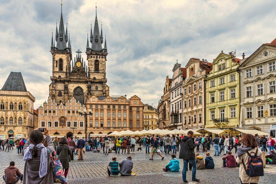 Tourists at the Old Town Square, Prague