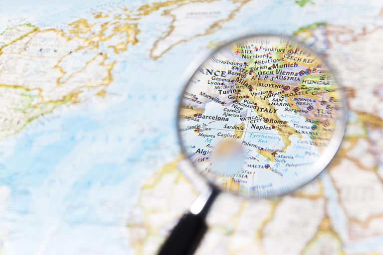 Italy and Magnifying glass