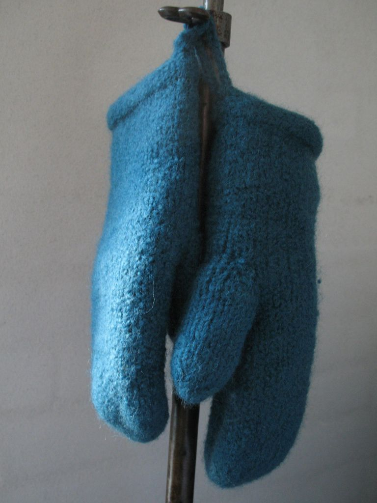 Felted turquoise mittens