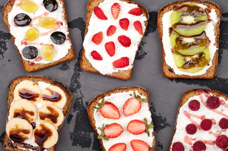 bread spread with cream cheese and fruit