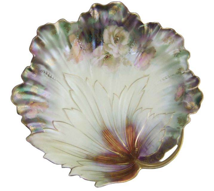 """R.S. Prussia Leaf Plate with """"Tiffany"""" Iridescent Finish"""