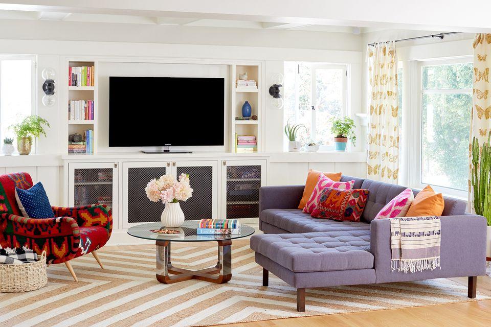 boho bungalow with purple sofa