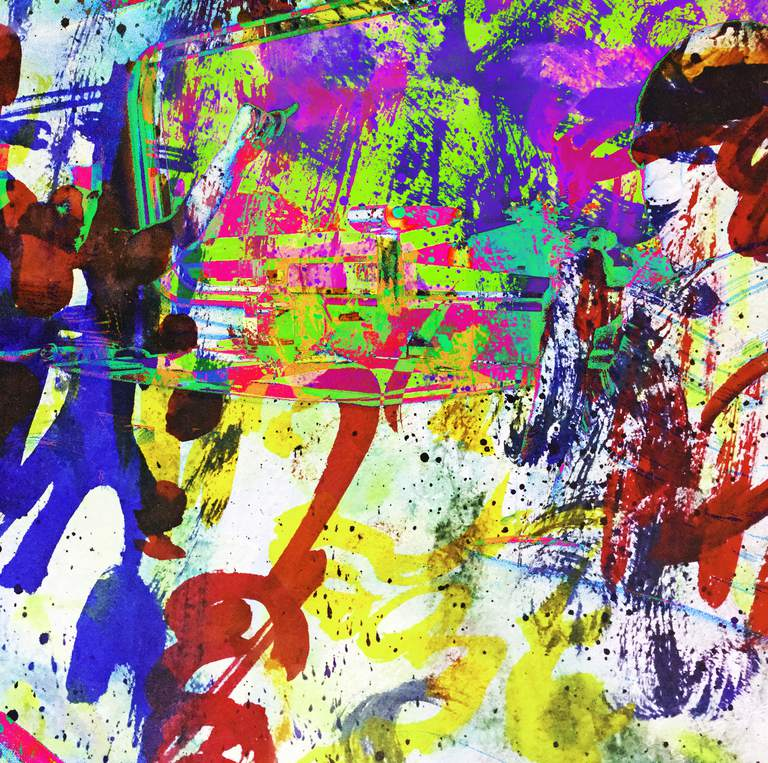 Absract expressionism painting. Gestural layers.