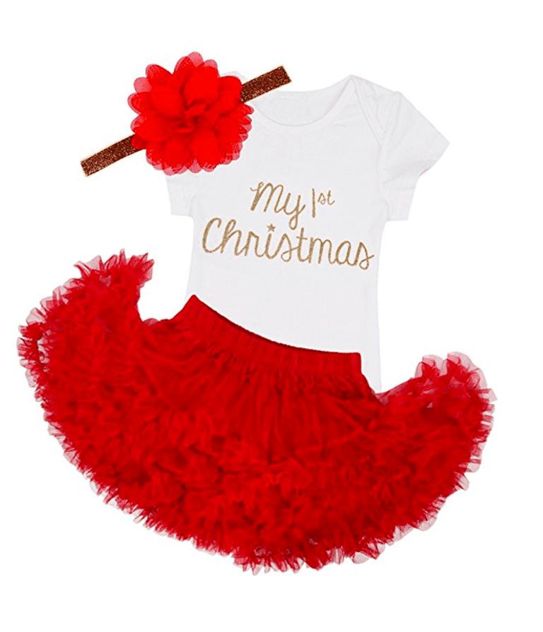 tiaobug baby girls my first christmas romper with tutu skirt headband outfit amazoncom