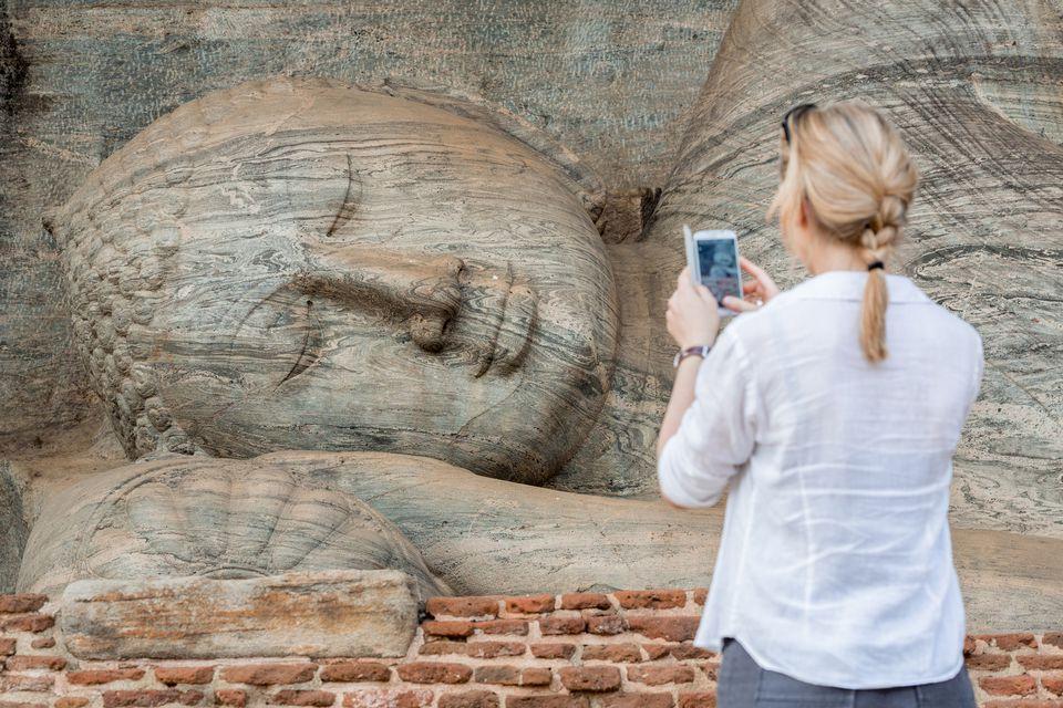 Sri Lanka, North Central province, Polonnaruwa, the former capital of the country (11th to 13th century) Vihariya Gal (Gal Vihara), the Great Buddha