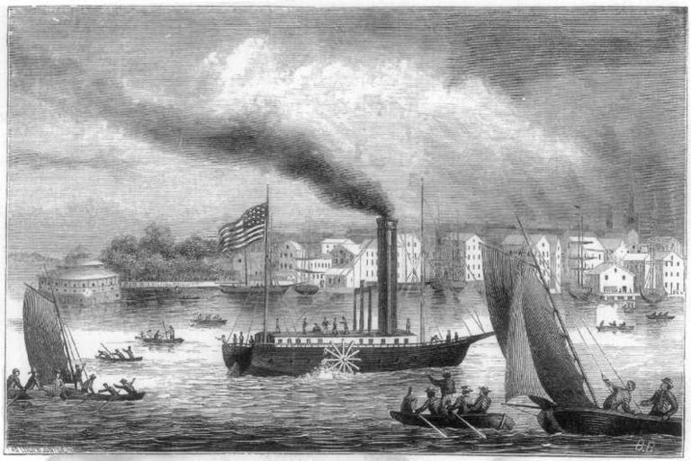Image of the steamboat Clermont designed by Robert Fulton - American Industrial Revolution.