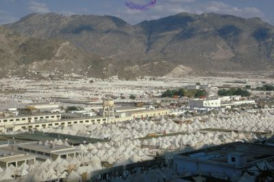 Tent city of Mina during Hajj
