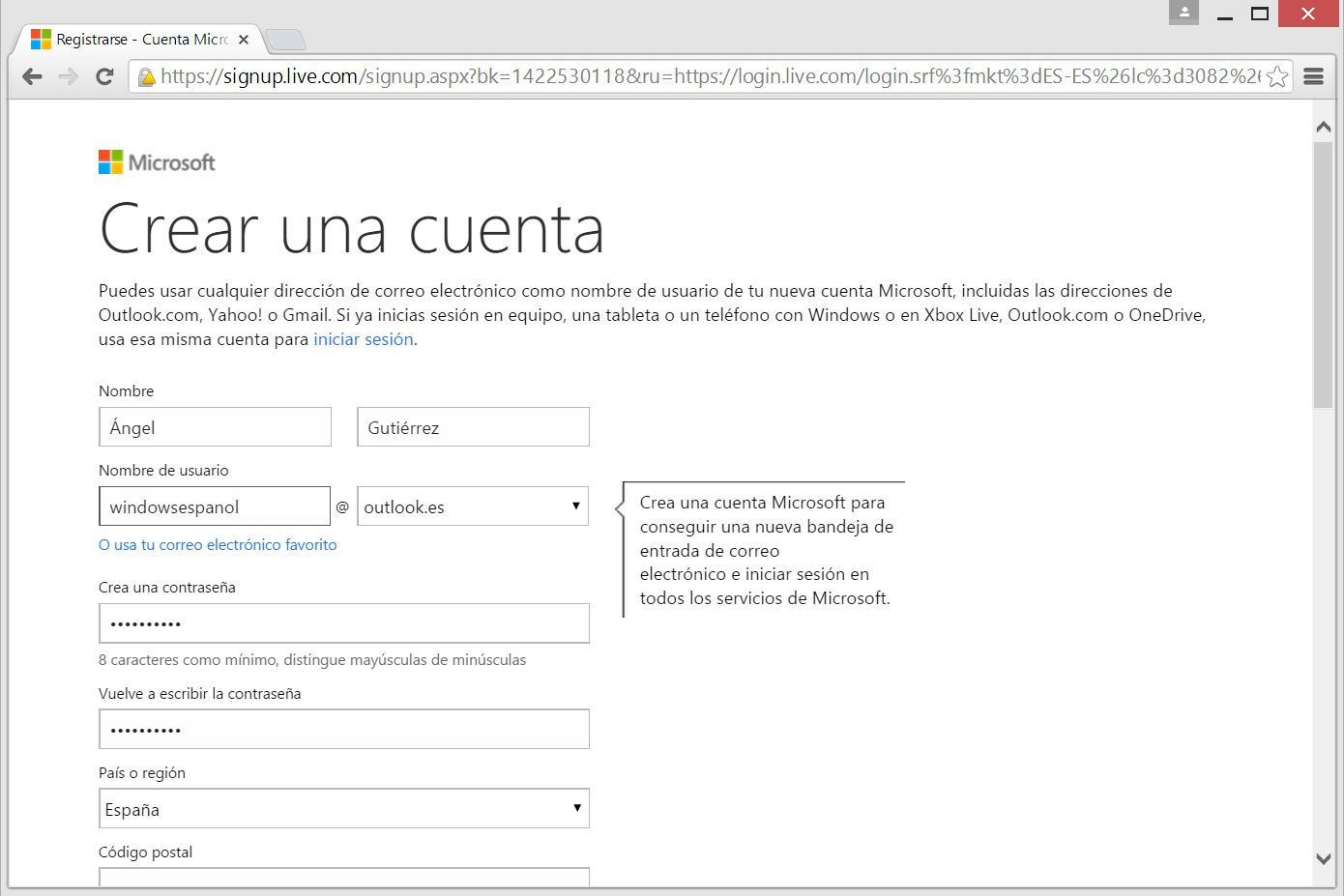 crear una windows live id o cuenta microsoft