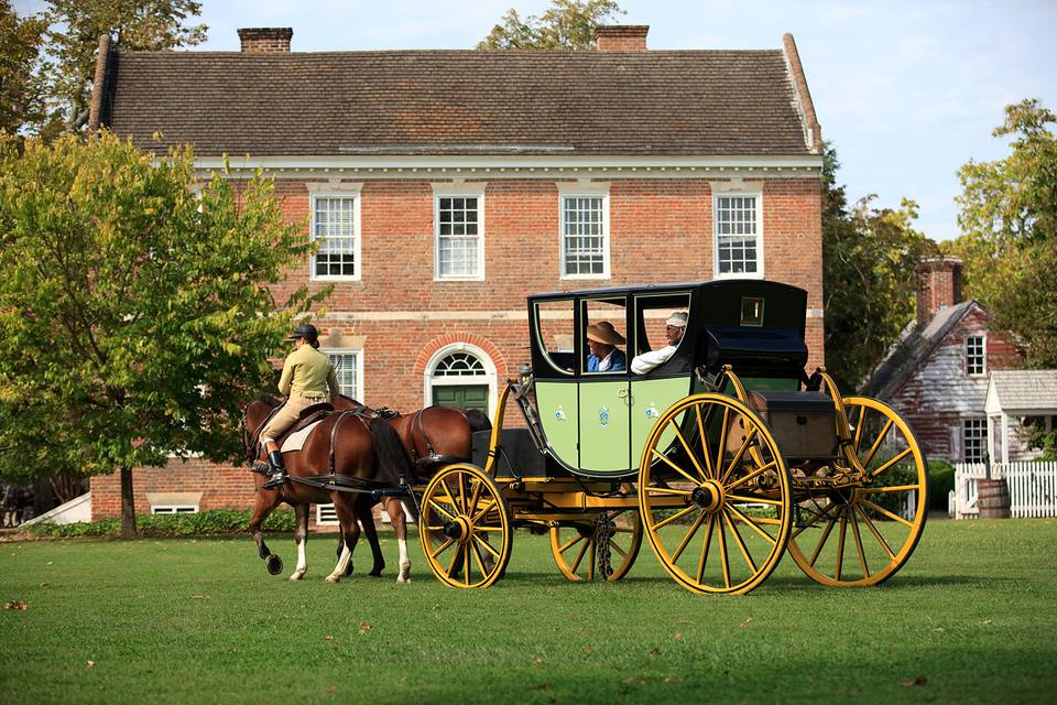 A horse drawn carriage in daily operation throughout the streets of Colonial Williamsburg.