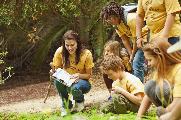 Camp counsellor and students examining plants in forest