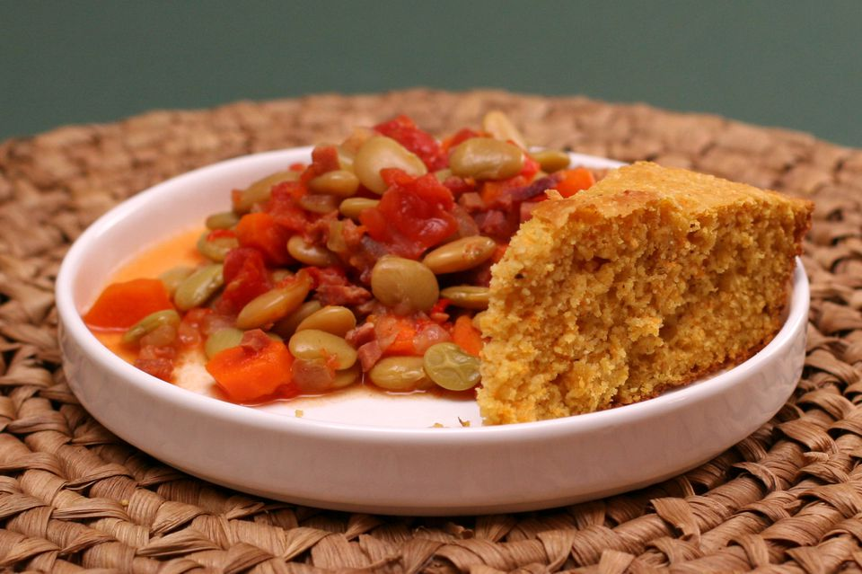 lima beans with chopped ham and tomatoes and cornbread