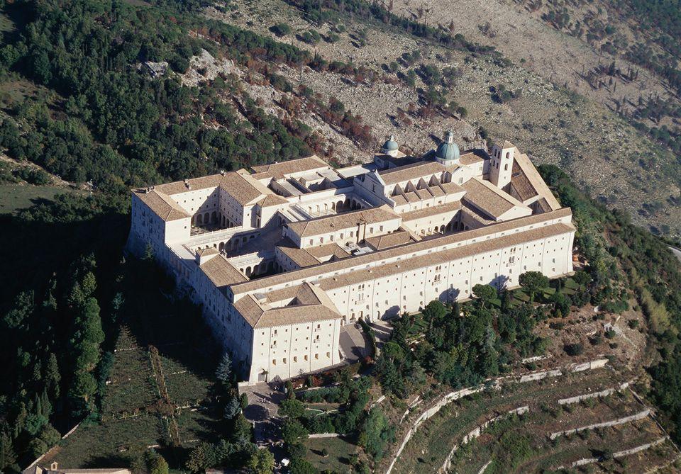 Aerial view of Montecassino abbey, 6th-17th century, Monte Cassino, Lazio, Italy.