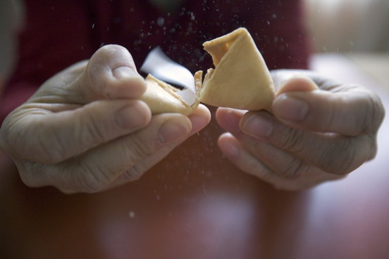 opening fortune cookie