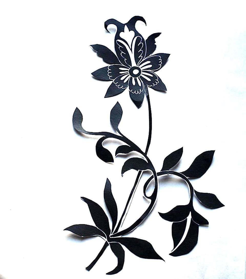 Chinese flower decoupage silhouette
