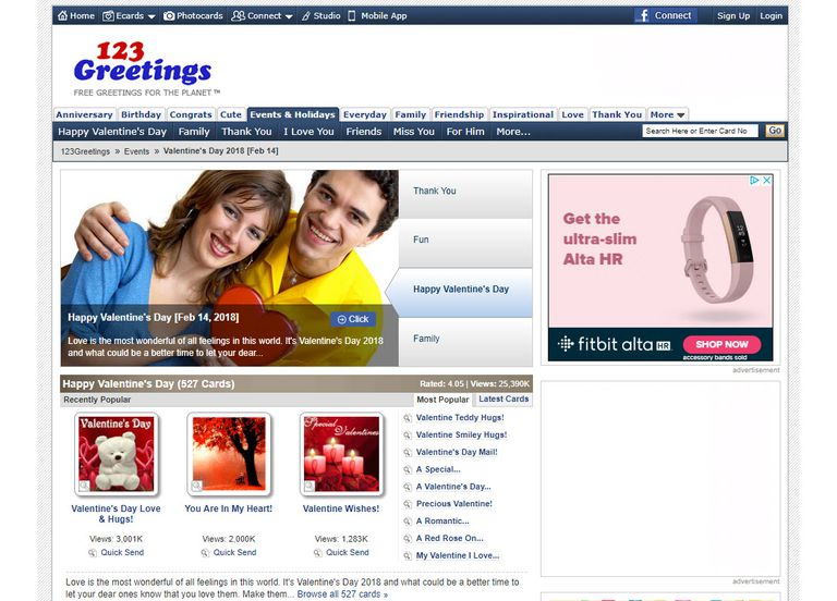 Screenshot of the 123Greetings.com website, Valentine's Day category.